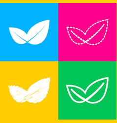 Leaf sign four styles of icon on vector