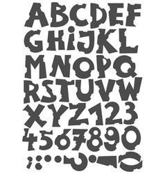 Letters been eaten font set vector