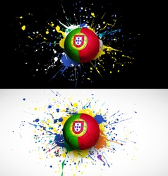 Portugal flag with soccer ball dash on colorful vector image vector image