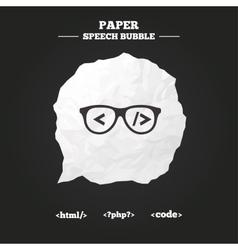 Programmer coder glasses html markup language vector