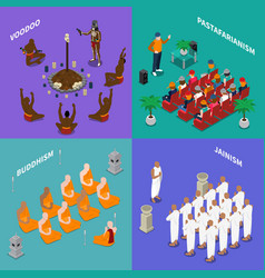 Religions people isometric concept vector