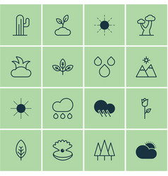 Set of 16 nature icons includes sun oak vector