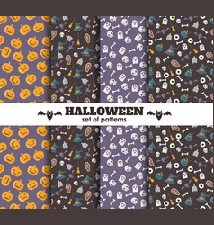 Set of halloween backgrounds collection of vector