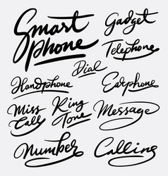 Smartphone and gadget hand written typography vector