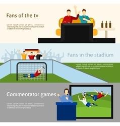 Soccer fans 2 flat banners set vector