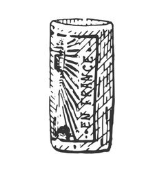 Vintage engraved cork for bottle of wine hand vector