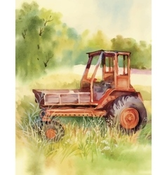 Watercolor tractor Machine in yard Equipment on vector image