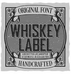 Whiskey label font poster vector