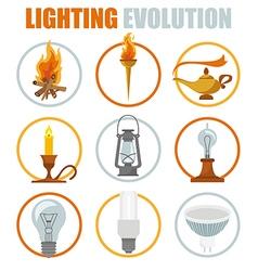 Lighting elements icon set evolution of light vector