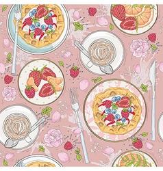 Seamless breakfast wafle pattern vector