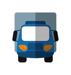 Blue truck small cargo transportation shadow vector