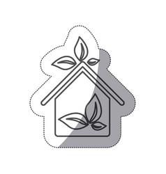 silhouette sticker eco houese with leaves icon vector image