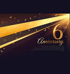 6th anniversary celebration card template vector