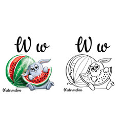 Watermelon alphabet letter w coloring page vector