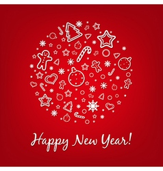 Red happy new year card vector