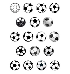 Black and white soccer balls or footballs vector image