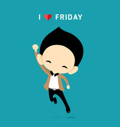 I love friday concept with happy businessman vector