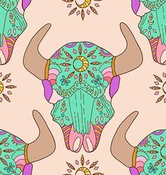 Doodle bull skull seamless pattern vector