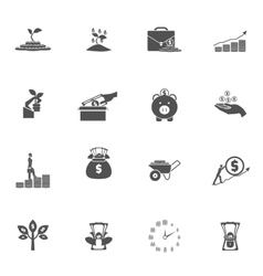 Investment silhouette icon set vector