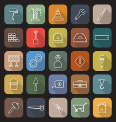 Construction line flat icons with long shadow vector