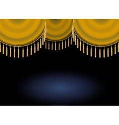 Gold satin or velvet curtain with lace or thread vector