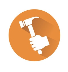 Hand with hammer vector
