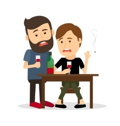 Drunk men at the table vector