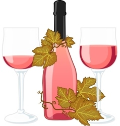 Rose wine bottle with two filled glasses vector