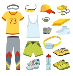 Top view running clothes cartoon flat vector