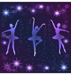 Tender ballerinas on dark background vector