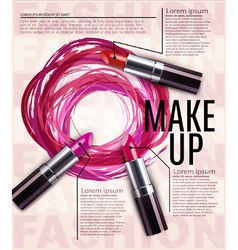 Template for advertising makeup and lipstick vector