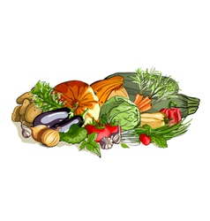 Vegetables colorful still life vector