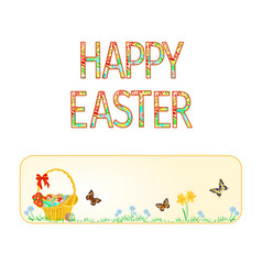 banner happy easter basket with easter eggs vector image vector image