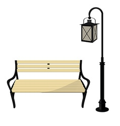 Bench and lantern vector image vector image