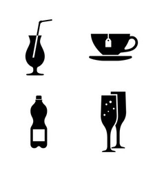beverages simple related icons vector image vector image