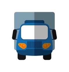 Blue truck small cargo transportation shadow vector