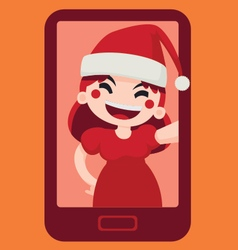 Christmas Girl Taking a Selfie vector image vector image