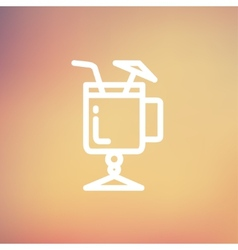 Cold ice tea with straw thin line icon vector image