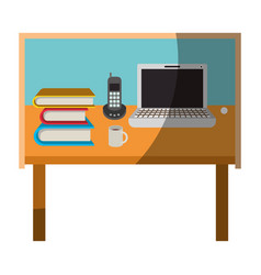 Colorful graphic of desk home office basic without vector