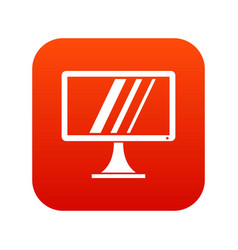 Computer monitor icon digital red vector