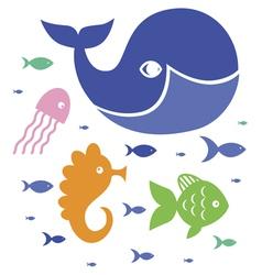 Cute sea characters vector image vector image