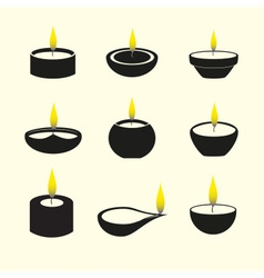 Diwali candles with flame icons set eps10 vector