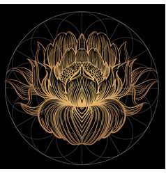 elegant golden element of a stylized flower with vector image