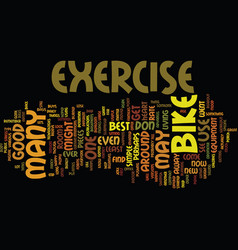 Exercise bike text background word cloud concept vector