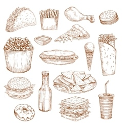 Fast food sketch icons meal snacks drinks vector image