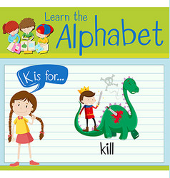 Flashcard letter k is for kill vector