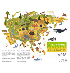 Flat asian flora and fauna map constructor vector