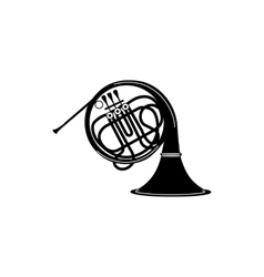 French horn icon black simple style vector image vector image