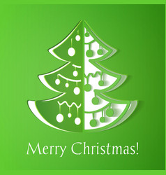 Green paper cut-out christmas tree vector