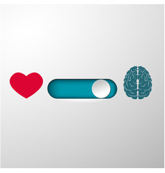heart and brain selection button vector image vector image